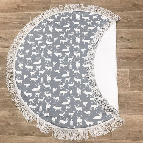 Grey and White Deer Play Mat