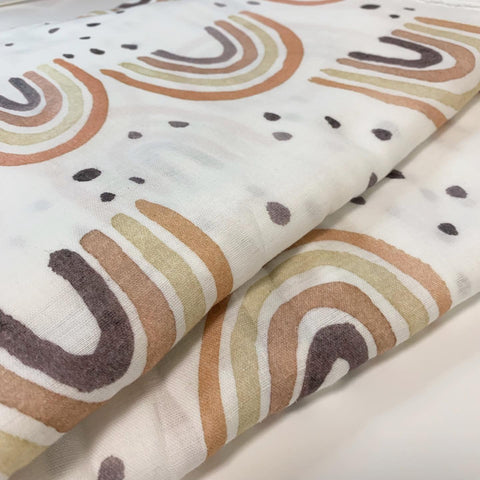 Rust Rainbow Muslin Wrap