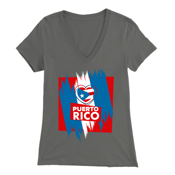 Puerto Rico Ladies V-Neck T-Shirt