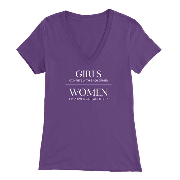 Girls vs. Women Ladies V-Neck T-Shirt