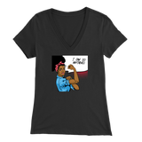 Rosie the Riveter Black Woman Ladies V-Neck T-Shirt
