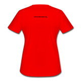 Momi Knows Best - Training Day: Women's Moisture Wicking Performance T-Shirt - red