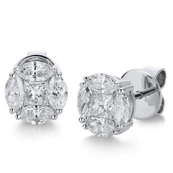 Studs Earrings Princess Marquise Cut