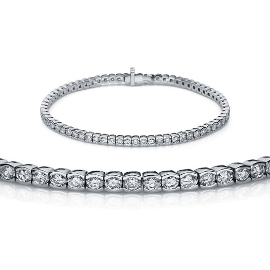 AMERICANO 18k White Gold Half Bezel Diamond Bracelet for men