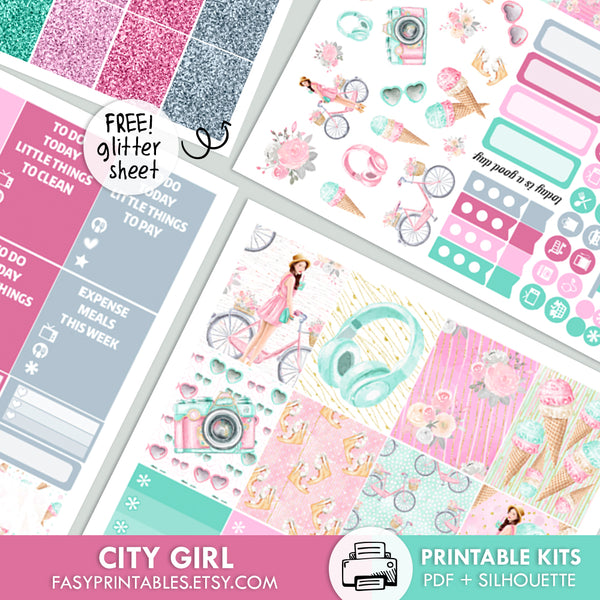 City Girl - Kit - Printable Stickers