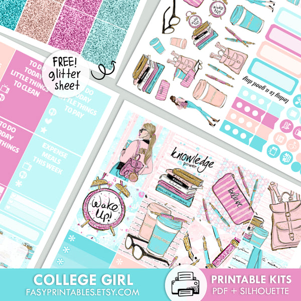 College Girl - Kit - Printable Stickers