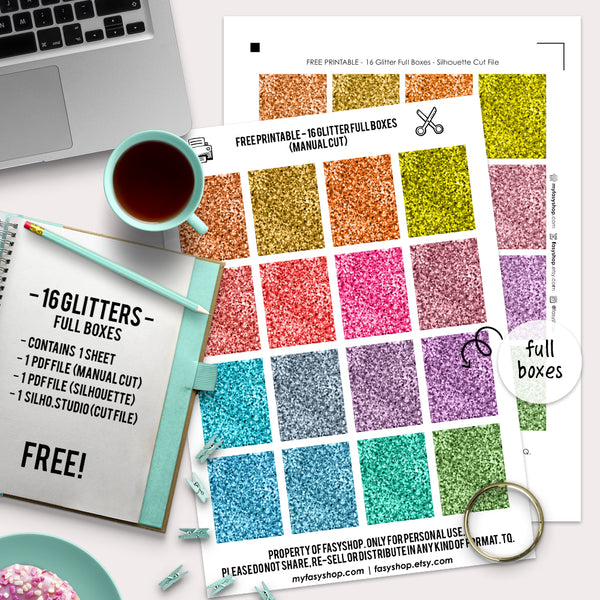 Free! - 16 Glitter Full Boxes - Printable Stickers