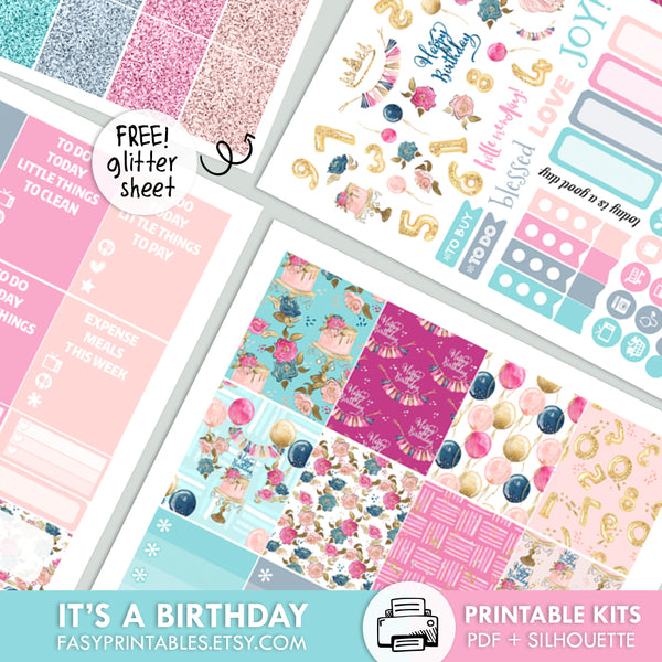 It's A Birthday - Kit - Printable Stickers