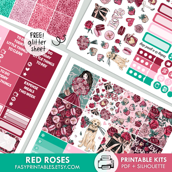 Red Roses - Kit - Printable Stickers