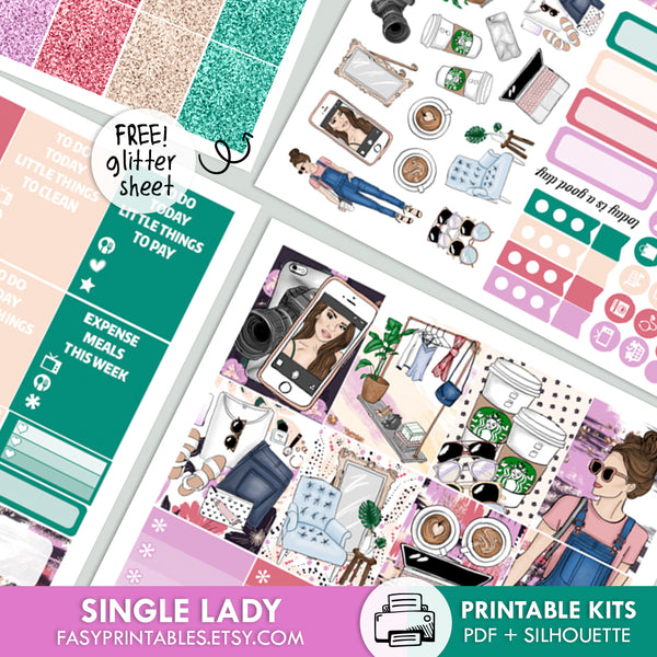 Single Lady - Kit - Printable Stickers