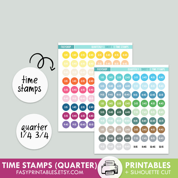 Time Stamps Quarterly - Printable Stickers