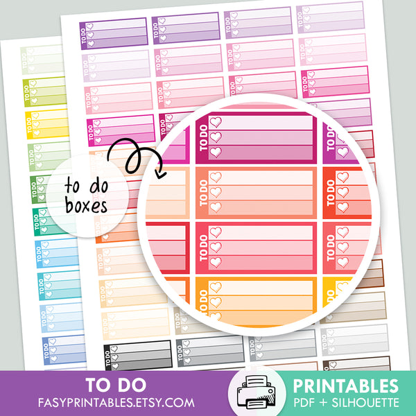 To Do - Love Boxes - Printable Stickers