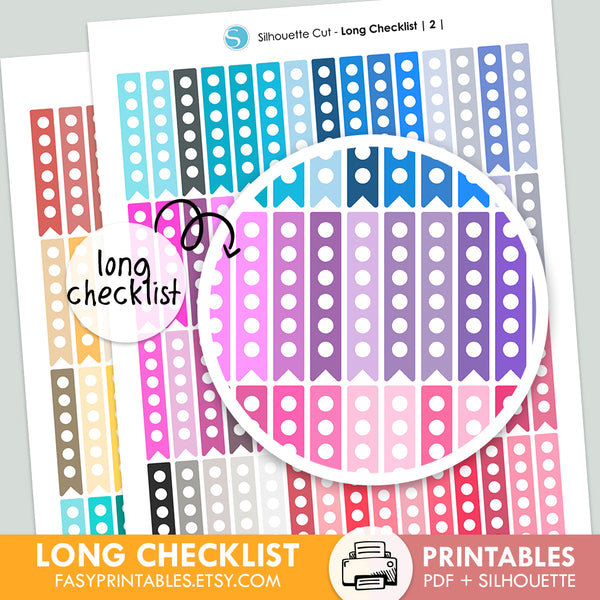 120 Circle Checklist - Long - Printable Stickers