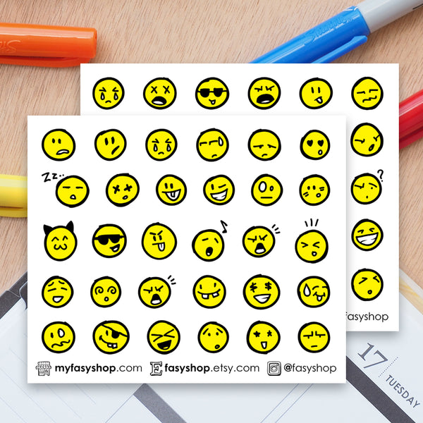 60 Yellow Emoji Doodles - FasyShop