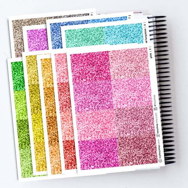 64 Rainbow Glitter Headers - 9 Colors Collection