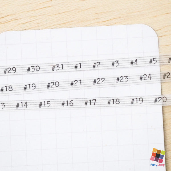 #numbers - Bullet Journal - 7m Washitape