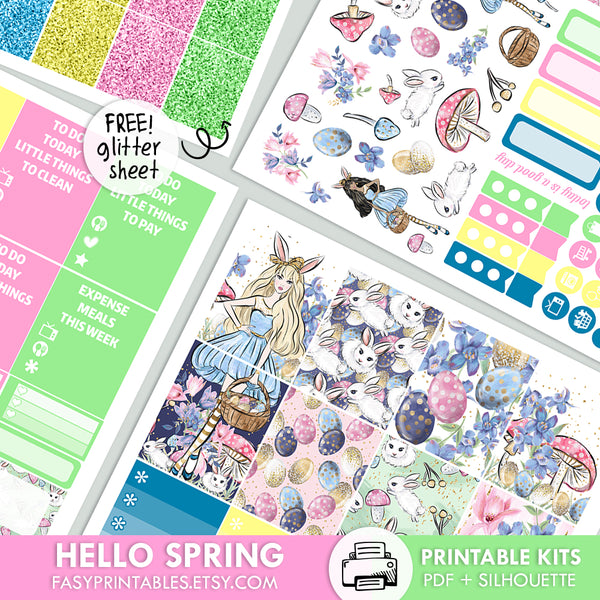 Hello Spring - Kit - Printable Stickers