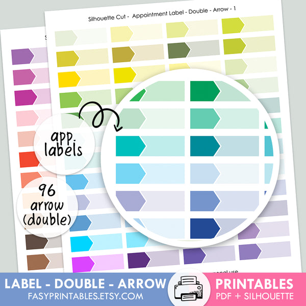 Label Appointment - Double - ARROW - Printable Stickers