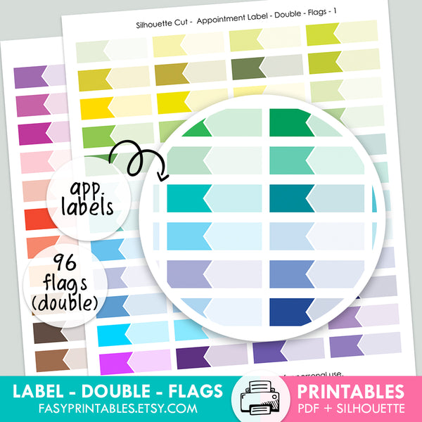 Label Appointment - Double - FLAGS - Printable Stickers
