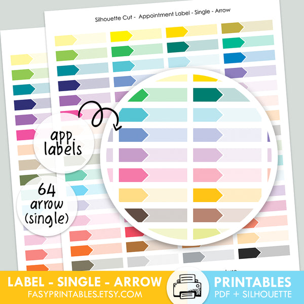 Label Appointment - Single - ARROW - Printable Stickers