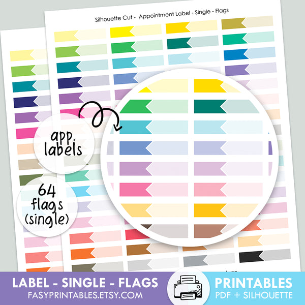 Label Appointment - Single - FLAGS - Printable Stickers