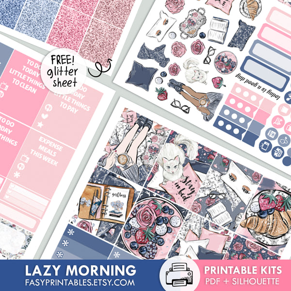 Lazy Morning - Kit - Printable Stickers