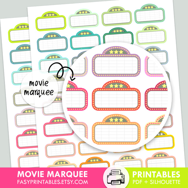 Movie Marquee - Printable Stickers