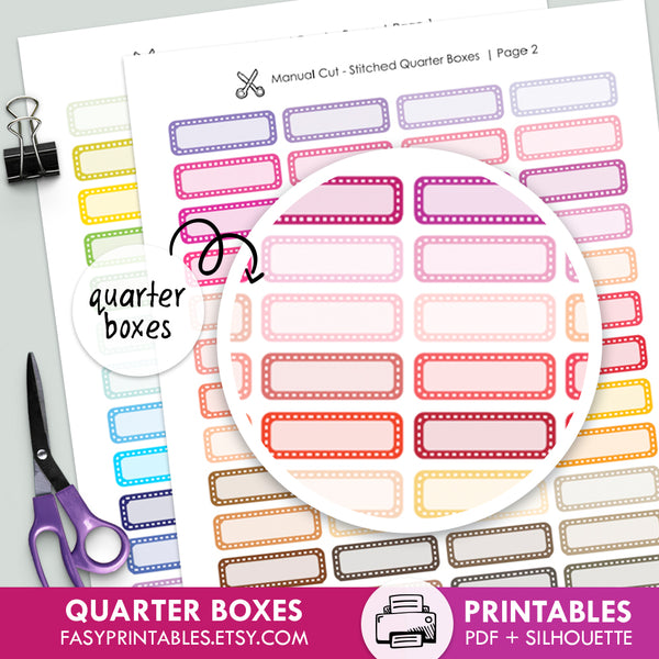104 Quarter Boxes Stitched - Printable Stickers