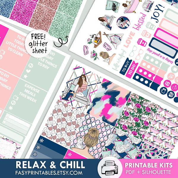 Relax & Chill - Kit - Printable Stickers