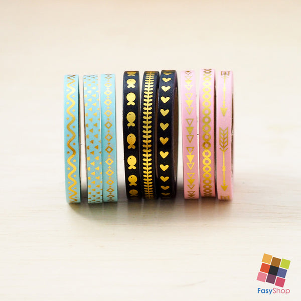 3pcs Slim Foiled Washi Tape - 7m Washitape - FasyShop