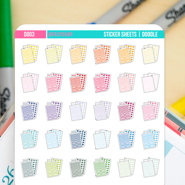 36 Sticker Sheets Doodles - FasyShop