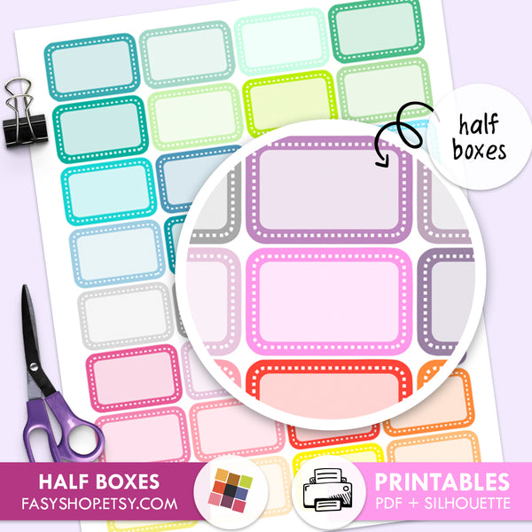 Half Boxes Stitched- Printable Stickers