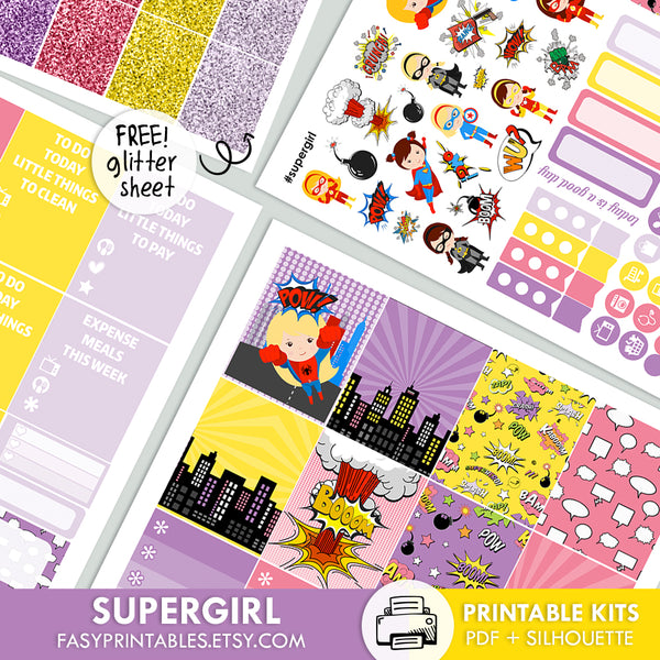 Supergirl - Kit - Printable Stickers