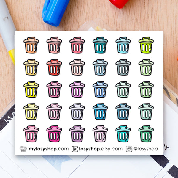 30 Trash Bins Doodles - FasyShop