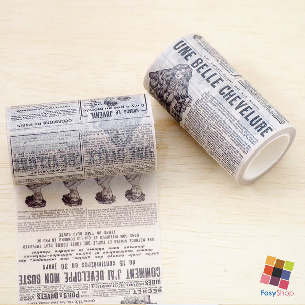 Vintage Newspapers Washitapes - 8cm x 8m - FasyShop