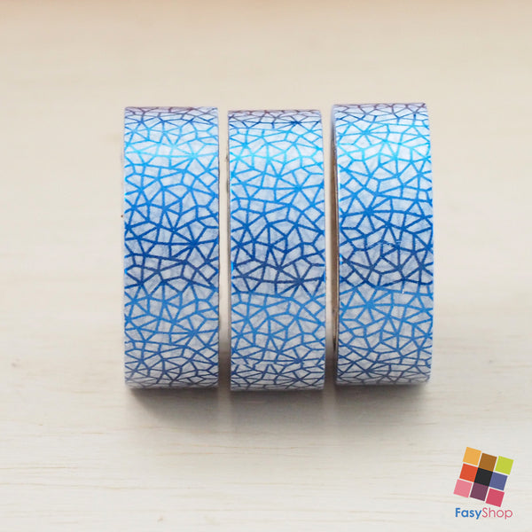 Blue Geometric Foiled - 10m Washitape