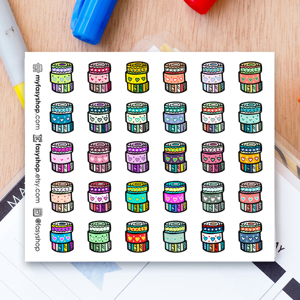 30 Washi Tapes Doodles - FasyShop