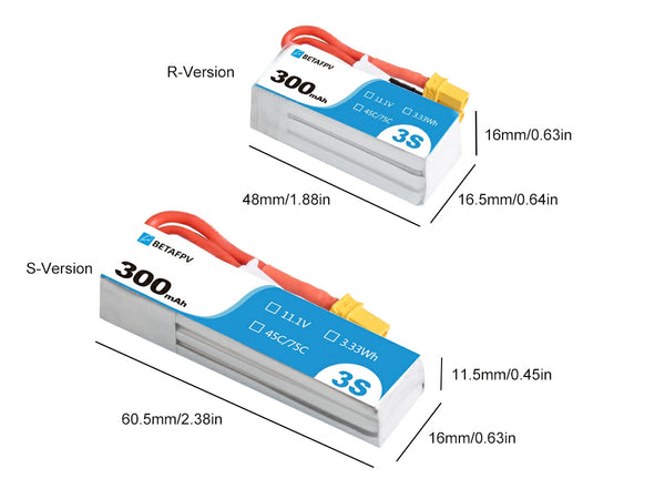 300mAh 3S 45C Lipo Battery S-Version (2PCS)