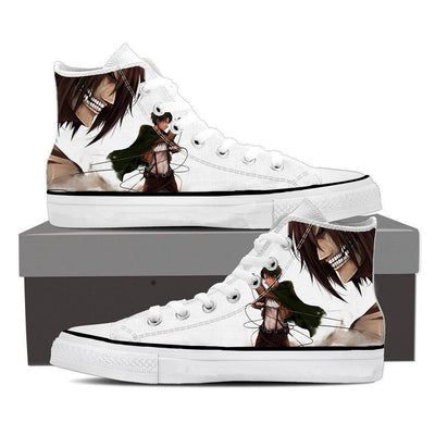 Attack on Titan Eren White High Top Canvas Shoes