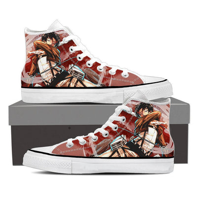 Attack on Titan Levi Red High Top Canvas Shoes, Custom, ULANI, ULANI