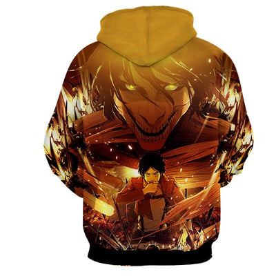 Attack on Titan Titan Eren Orange Hoodie, Hoodie's, ULANI, ULANI