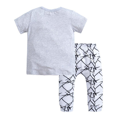 Cartoon Eyes T-shirt and Pants 2pcs Set