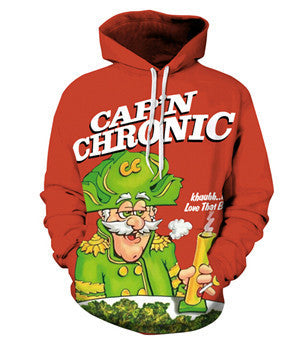 Cap'n Chronic Crunch Red Hooded Sweatshirt, Hoodie's, ULANI, ULANI