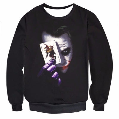 ULANI Long Sleeve and Sweatshirts Batman The Joker Card Black 3D Sweatshirt