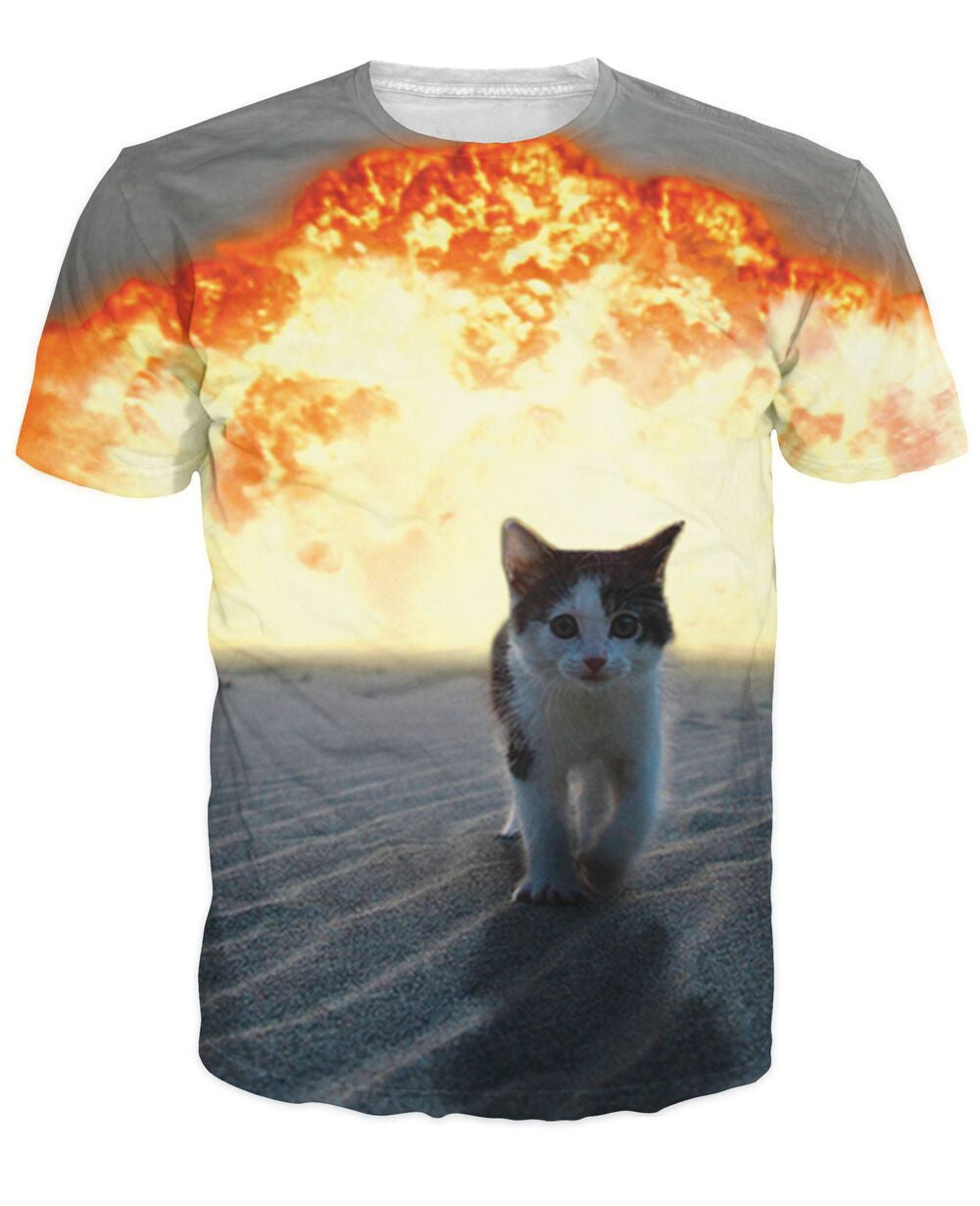 Cool Cat Explosion T Shirt Animal Print 3D Grey T shirt ULANI
