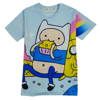 Adventure Time Print Mens Blue T Shirt, T-shirts, ULANI, ULANI