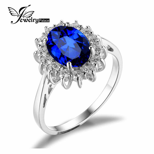 Princess Diana William Kate Middleton's 3.2ct Created Blue Sapphire Engagement 925 Sterling Silver Ring