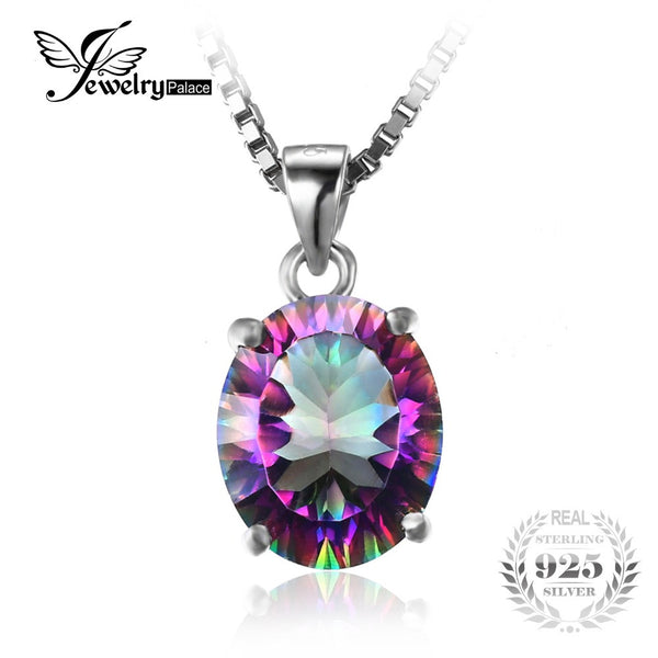2.5ct Rainbow Fire Mystic Topaz Concave Oval Pendant 925 Sterling Silver Fine Jewelry For Women Gift Without Chain