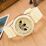 13 Color Fashion Leaf Grass Quartz Watch Stainless Steel For Women Men Unisex Silicone Sports Casual Wristwatches