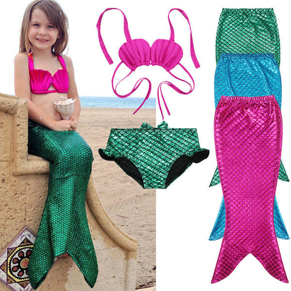 3PCS Girl Kids Mermaid Tail Swimmable Swimwear Swimsuit Girls Bikini Set Bathing Suit Fancy Costume 3-9Y size 100-150